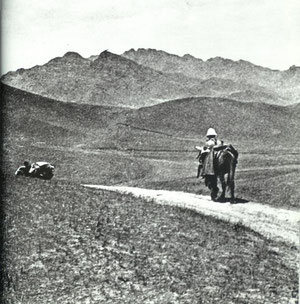 "Along the Mongolian plateau on expedition to the Dalai-Nor, 1924.  ""When I am traveling by mule, for days on end, I say to myself, the 'Mass on the World' and I believe I say it now with more clearness of mind and conviction than before."""