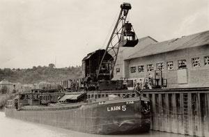 Lahnschiff, Lahnkahn, Lahn 5, Dampfkrahn, Hafen Dehrn,