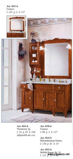 mobile da bagno a 4 porte e 2 cassetti con lavabo in minirelmarmo bianco misure cm 125x59x80 h specchiera con cornice in legno pi vetrinetta a 1 porta