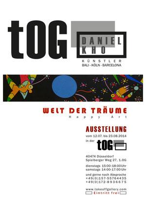 """Plakat, Ausstellung, """"WELT DER TRÄUME"""", Daniel Kho, tOG, Düsseldorf, Galerie für zeitgenössische Kunst, Glasmalerei, Glasobjekte, Skulpturen"""