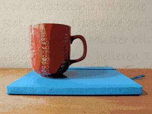 Tasse und Tagebuch