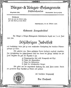 Einladung des Bürger- & Krieger- Gesangvereins Schledehausen zum 50-jährigen Jubelfest am 7. und 8. Juni 1931