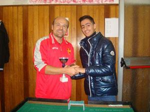 Cesare Natoli premiato come vincitore del torneo Cadetti