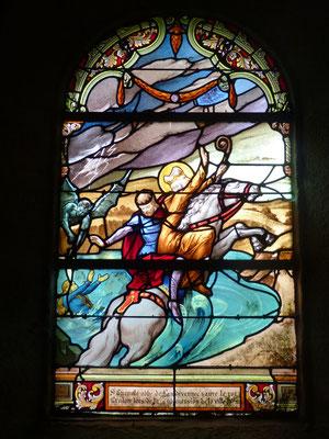 Vitrail de l'église de Kerlaz - Gradlon échappe aux flots qui engloutissent la ville d'Ys et Dahut