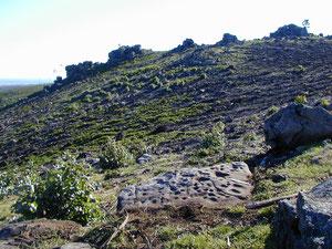 Petroglifo das Cacharelas. Vista cara el SW