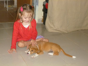 Naomi with our new puppy, Chestnut
