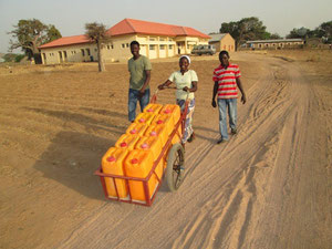 one of the teams fetching water