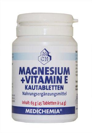 Medifit MAGNESIUM + VITAMIN E Kautabletten zur Stabilisierung der Stoffwechselleistung und antioxidativer Zellschutz