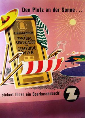 Plakat: Den Platz an der Sonne.  Sparkassenbuch als Liegestuhl. Werbung der Zentralsparkasse.