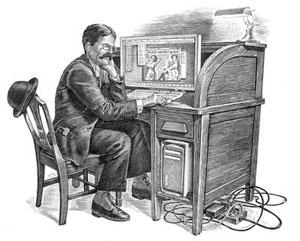 La Prima de Riesgo (a la derecha; con forma de mueble) y la Madre que la Parió (a la izquierda, con forma de señor con bigote).- cartoonja.com