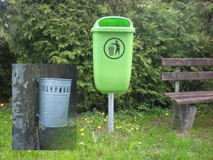 Mülleimer werden künftig nicht mehr an Bäume geschraubt