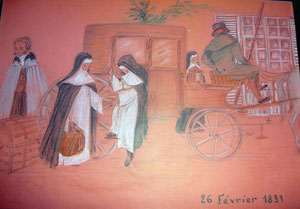 Arrivée des premières soeurs à La Délivrande le 26 février 1831.
