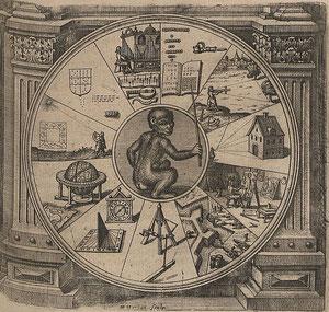Ist der Mensch ein »Animal Poeta«? Kupferstich von Merian, 1624.