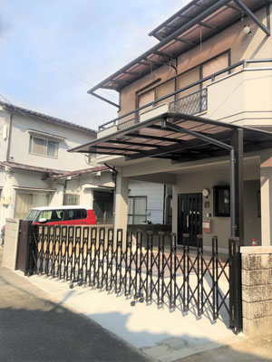 熊野町 外構リフォーム カーテンゲート・カーポート・土間コンクリート