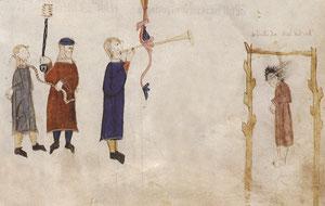 La pendaison. Coutumes de Toulouse, 1296, BnF. Temple de Paris