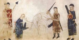La castration. Coutumes de Toulouse, 1296, BnF. Temple de Paris