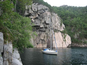 Boot im Lysefjord
