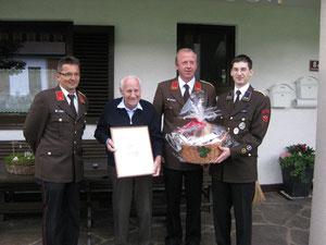 v.l.: BI Walter Fuß, BI Nikolaus Mayr, OBI Erich Wurzer, OV Georg Crepaz