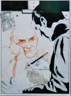 In questo disegno di Facciolo, Diabolik contraccambia e finalmente è lui a disegnare il volto di colui che ha disegnato per tanti anni!