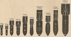 DIFFERENTS TYPES DE BOMBES LANCEES PAR L'ARMEE ALLEMANDE