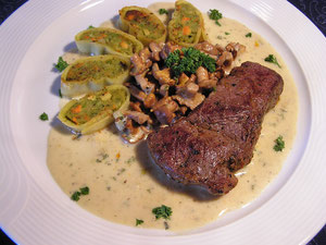 Rumpsteak mit Pfifferlingen