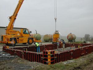 Bac de rétention pour silo d'engrais liquides Génie Civil