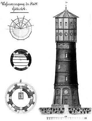 Plan des Wasserturms, Zeichnung um 1890