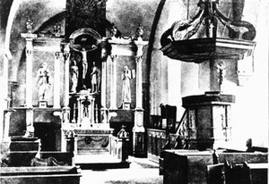 Der Altarraum bis 1890, heute zum Teil im Stadtmuseum zu sehen