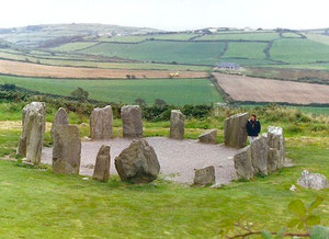 Drombeg stone circle,also known as the 'Druid's Altar,' three miles west of Ross Carbery, County Cork, Ireland.
