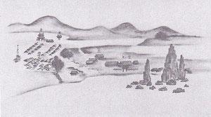 海上より望んだオタルナイの図-松本吉兵衛 筆