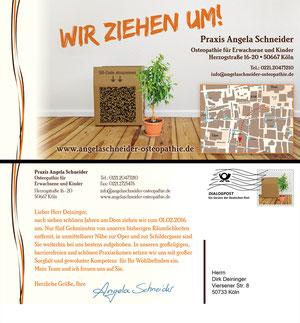 Personalisierte Postkarte (Vorder- und Rückseite). Vorderseite mit vCard als QR-Code.