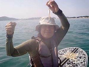 福間海岸は、マリンスポーツメッカとしても、釣りのポイントとしても有名な海です。写真は、キスですっ!