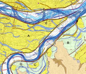 地形図と呼ばれる物です  川や沼だった所、埋め立て地、低地、地山などが分かるようになっています