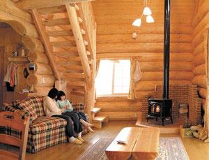 丸太で作るログハウス  薪ストーブも付いて、ここまで徹底出来れば感激です