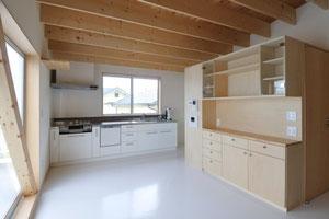2階の居間食堂  正面はキッチンセット