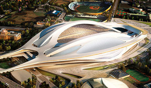 新国立競技場の完成予想図  UFOではありません