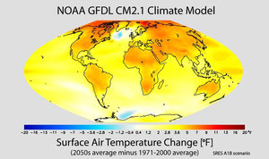 世界の気温上昇の様子 赤い色の濃い所が気温上昇の激しいところ