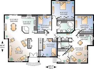 アメリカの二世帯住宅のプラン例(インターネットから)
