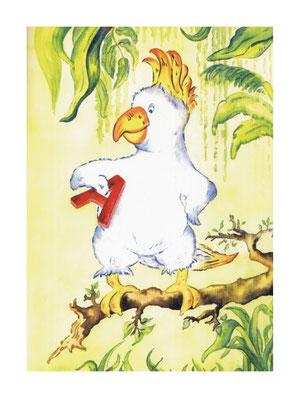 Ein gemalter Kakadu im Regenwald