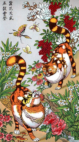 Les Chats-Esprits sont censés éloigner les rats très friands de vers à soie, les fleurs sont de bonne augure et préservent les vers à soie des épidémies.