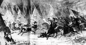 Auf diesem Stich aus Harper's Weekly führt George Armstrong Custer mit rauchender Pistole einen Vorstoß durch ein Cheyenne-Dorf am Washita River an. In Custers Bericht wurde die Anzahl der getöteten Frauen und Kinder nicht erwähnt.