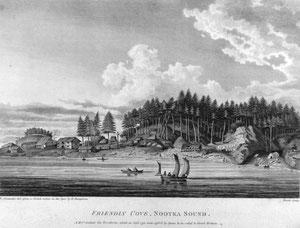 Dorf an der Pazifikküste von Vancouver Island, 1791