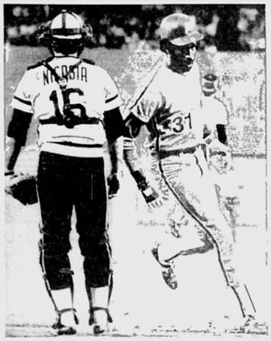 Garry Maddox scores the winning run in the 11th inning.