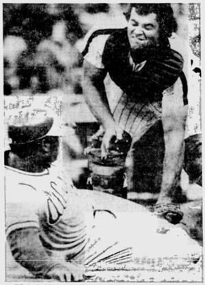Bob Boone tags out Chris Chamblis on a Lonnie Smith throw in the 4th inning.