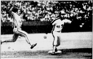 Pete Rose stretches for first on an infield single.