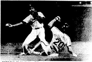 Mike Schmidt is forced out during a fourth inning double play.
