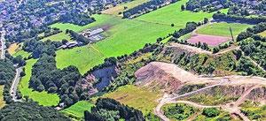 Neun Hektar rund um den Bauernhof umfasst die beantragte Abbaufläche: unterhalb des Feldwegs zum Sportplatz Dörenberg und bis an die Grenze des Steinbruchs Franhsen, der rekultiviert wird.