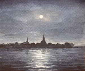 Konstanzer Bucht bei Nacht (Aquarell)