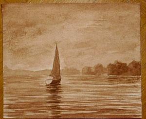 Flaute vor der Insel Schweinesand (Aquarellskizze, 10 x 12 cm)
