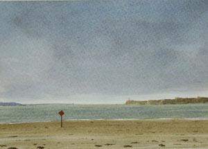 An der Küste Großbritanniens (Aquarell, 10,5 x 15 cm, verkauft)